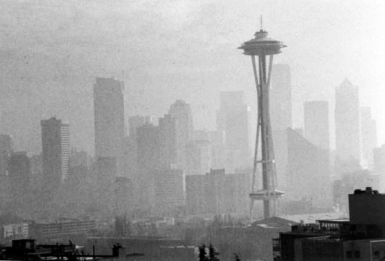 Historic Seattle with so much air pollution you can barely see the skyline.