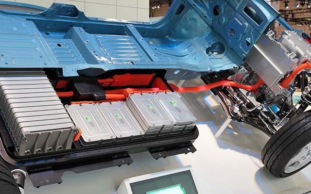 cutaway of a nissan leaf battery in an electric vehicle