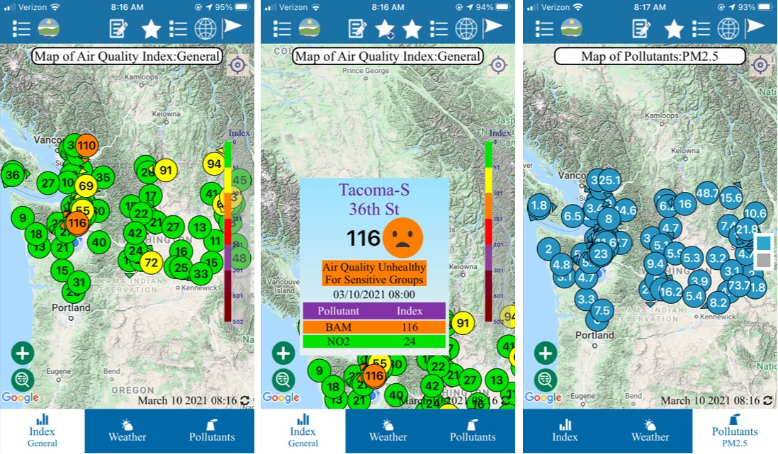 Three screen captures from the AirQualityWA app.
