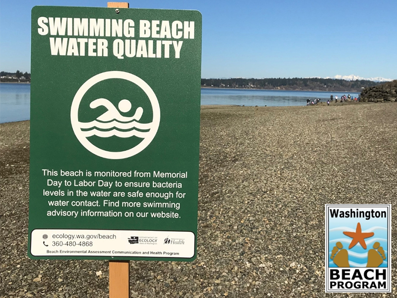 Green sign in foreground, reads Swimming Beach Water Quality, beach is monitored ... beach and lake water in background