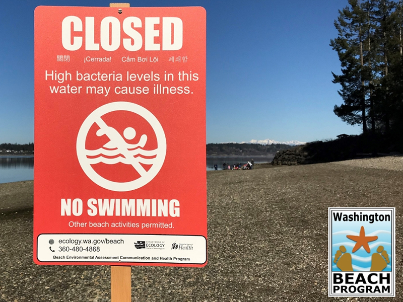 Red sign posted on a beach indicating that water contact should be avoided.