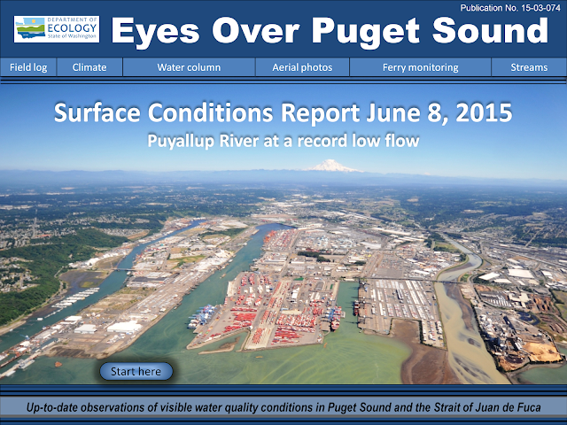 Front cover of Eyes Over Puget Sound shows view of Commencement Bay from above.