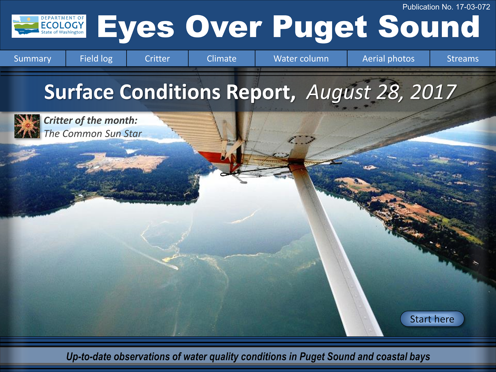 Front cover of Eyes Over Puget Sound's Surface Conditions Report shows part of an airplane wing flying over the sound.