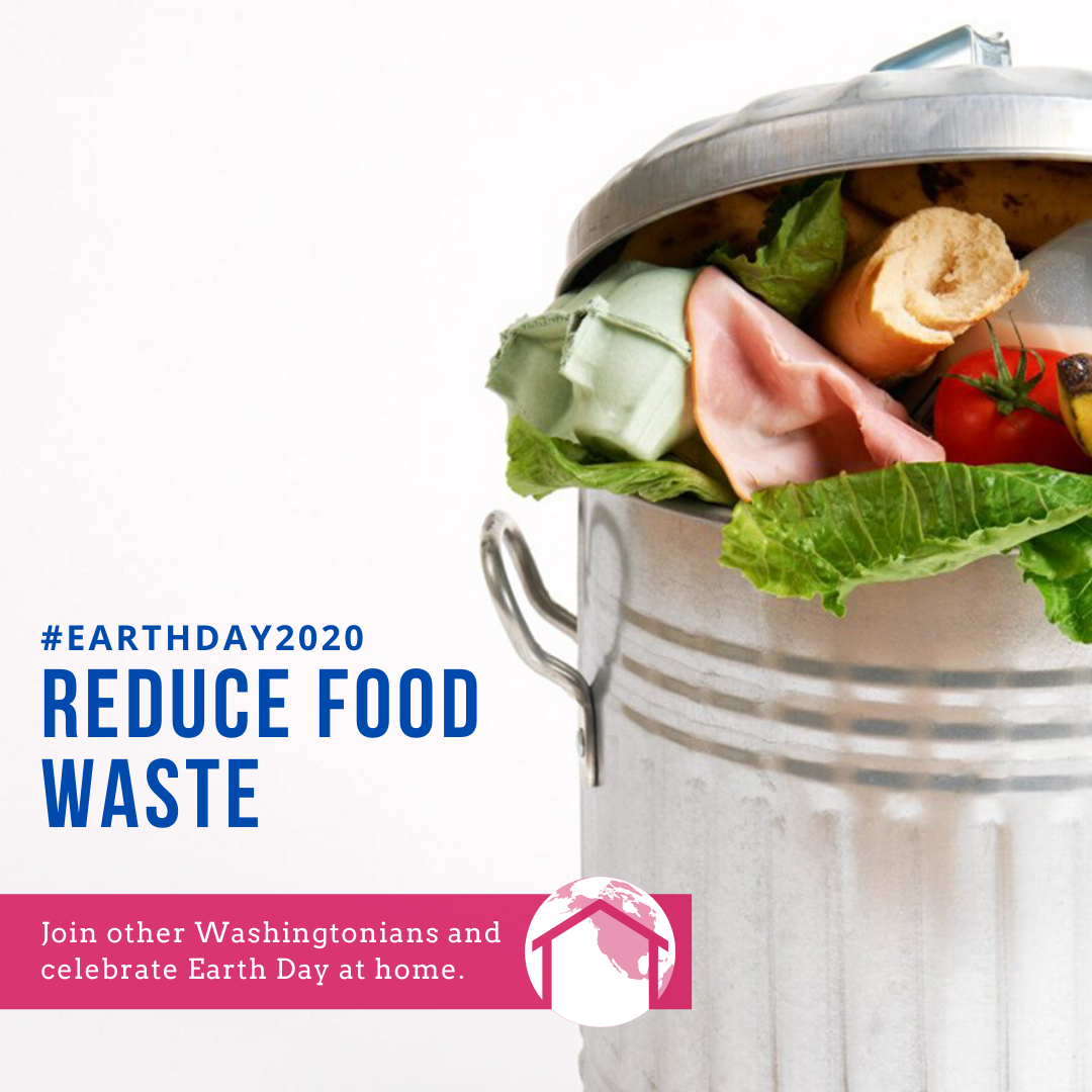 Garbage can full of food, text reads reduce food waste.
