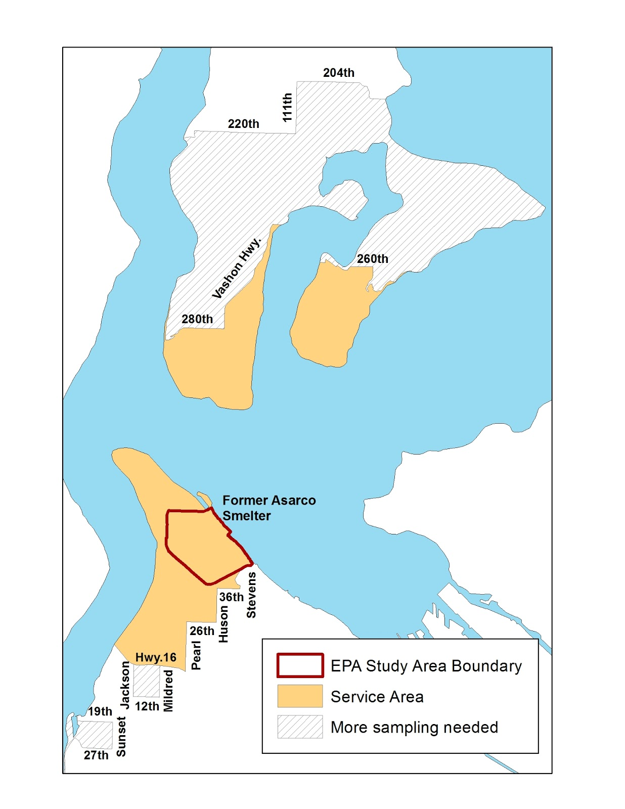 A map showing Tacoma Smelter plume area with various zones highlighted, including the cleanup program service area and surrounding zones.
