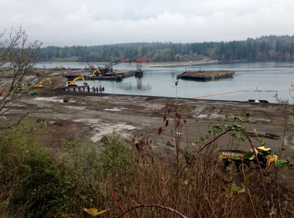 photo of former mill site at Port Gamble; a muddy beach with construction equipment.