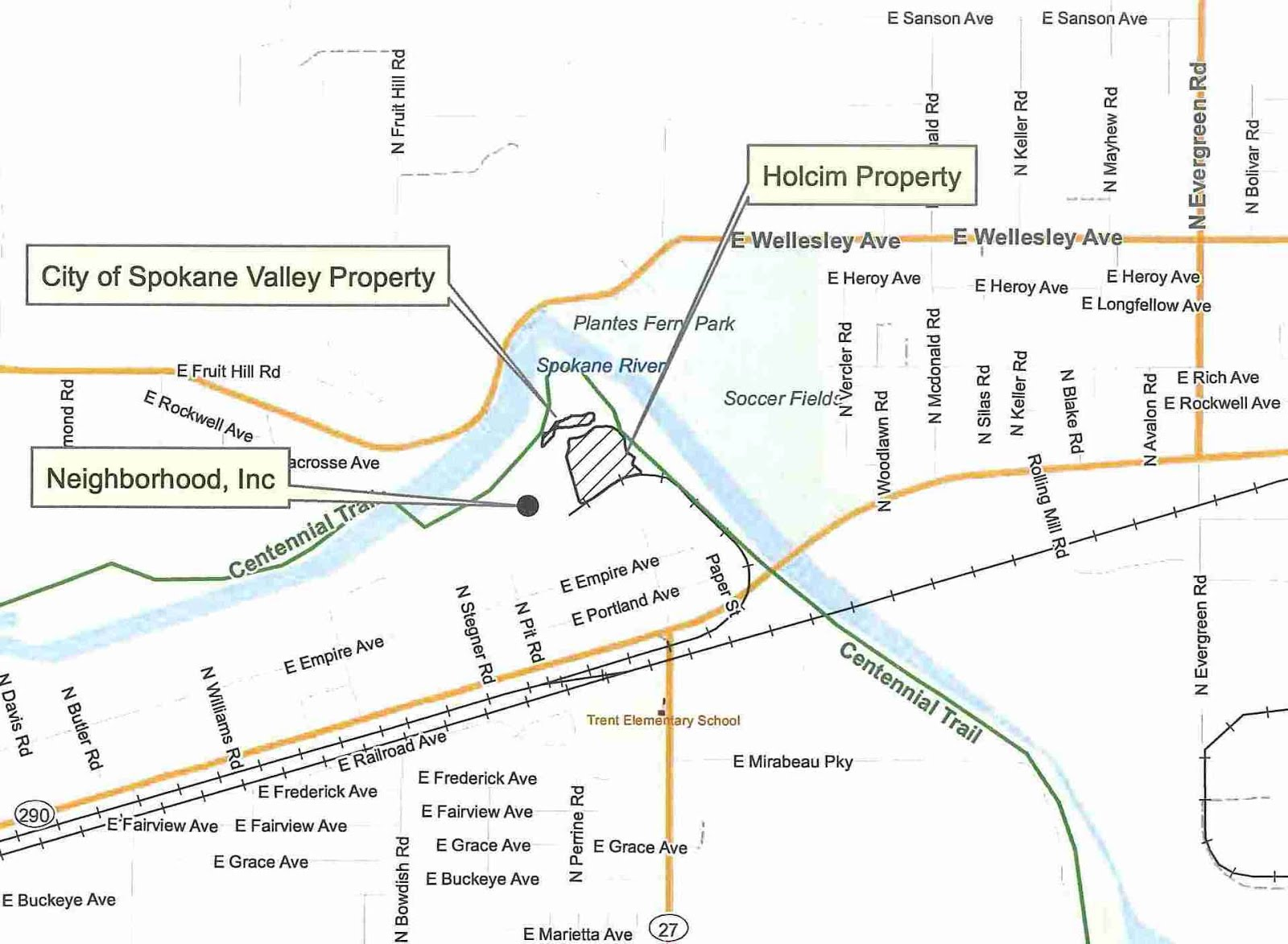 The Holcim site is in the the bend of the Spokane River, south of City property.