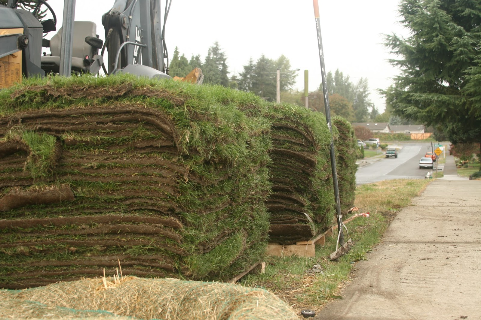 Big stacks of sod.