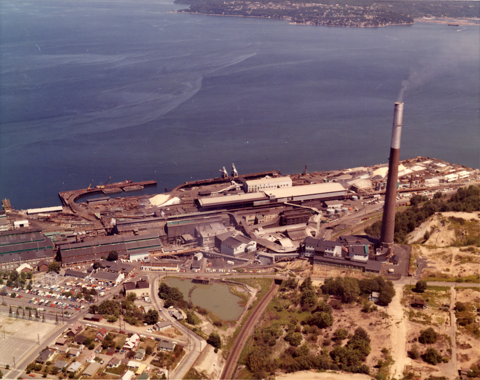 The former Asarco Smelter and smokestack along the Tacoma Waterfront