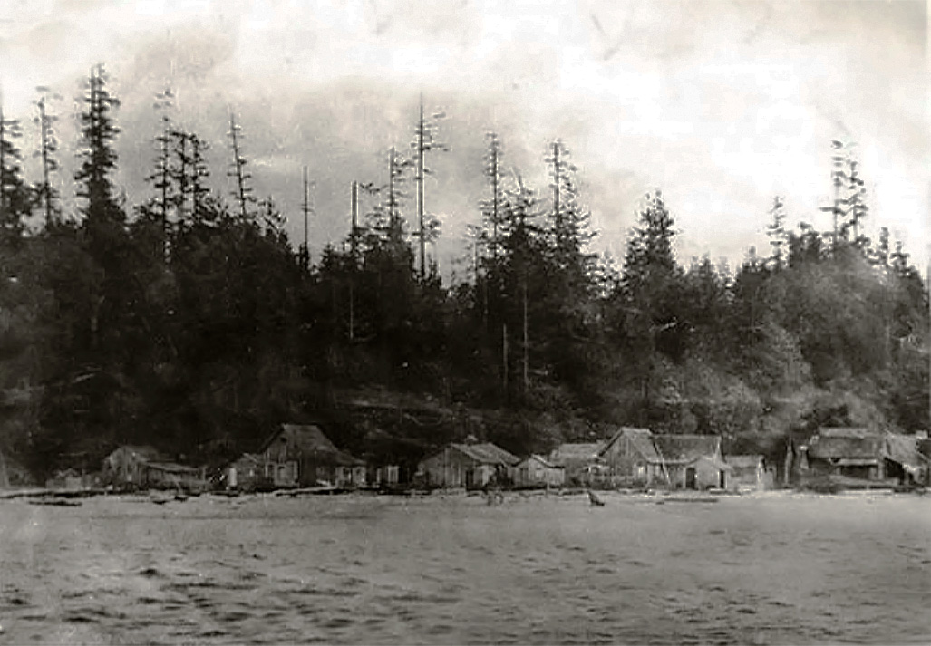 Historic picture of the Point Julia village along Port Gamble Bay