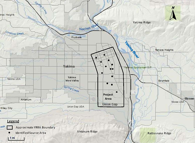 Map of Yakima Railroad Area identifies areas where industries introduced contamination to a six square mile area.