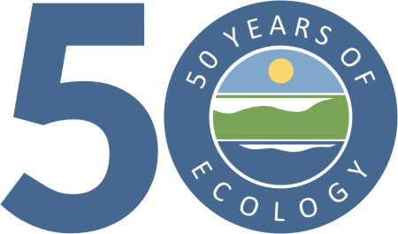Blue numerals 5 and zero with words 50 years of Ecology