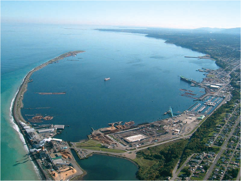 Port Angeles Harbor is protected from the open water by a long, low spit.