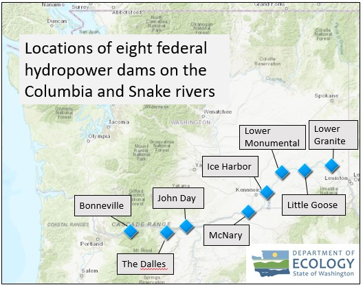 map of 8 dam locations:  Bonneville, Dalles, John Day, McNary, Ice Harbor, Lower Monumental, Little Goose, Lower Granite