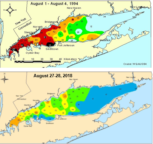Map of hypoxia levels in Long Island Sound.