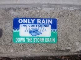 Bilingual: Only rain down the storm drain sign and !No Contamine!