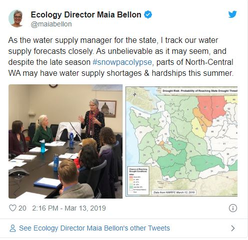 March 13, 2019 Tweet from Maia Bellon talking about water supply in Washington. Click image for full tweet.