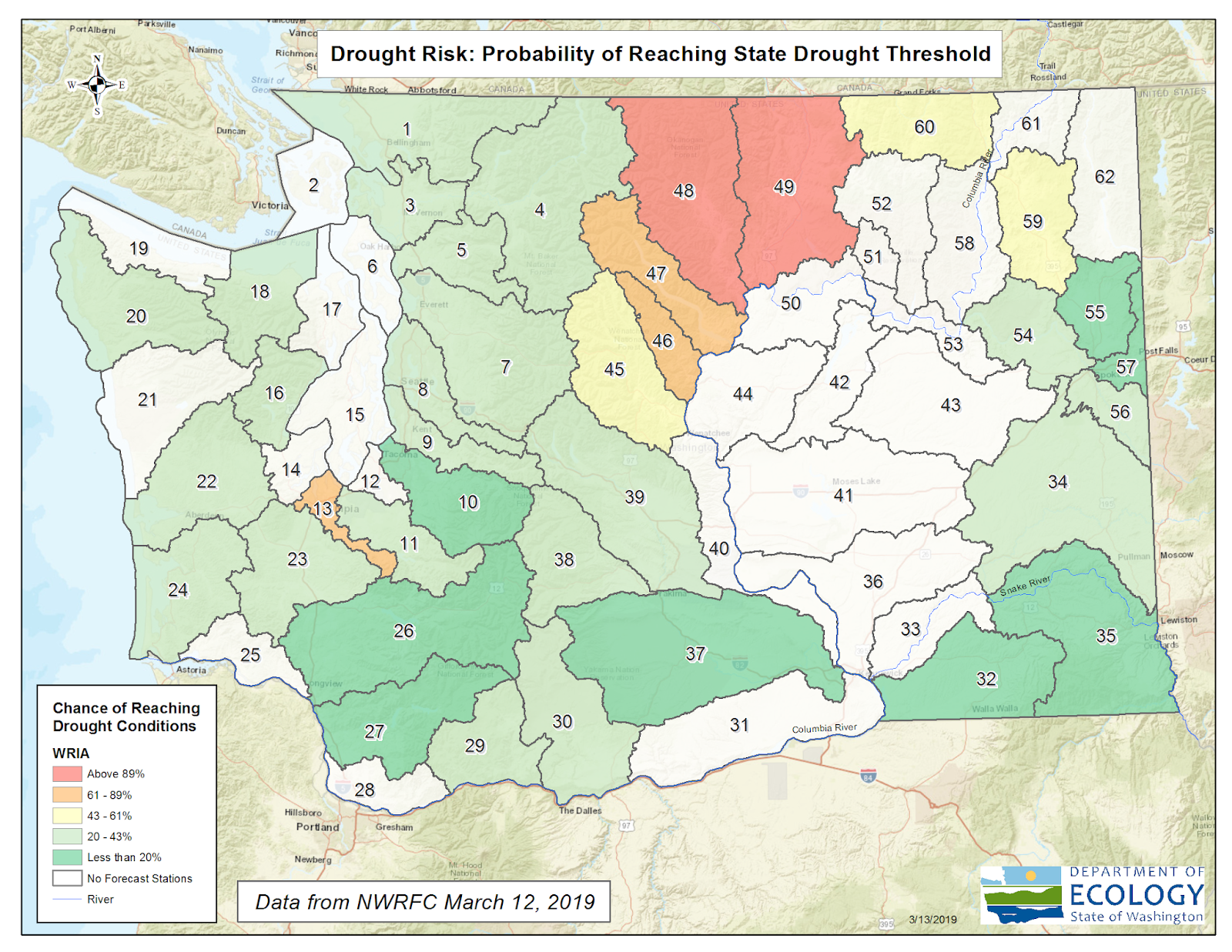 Graphic of Washington showing drought risk projections in Washington, dated March 12, 2019