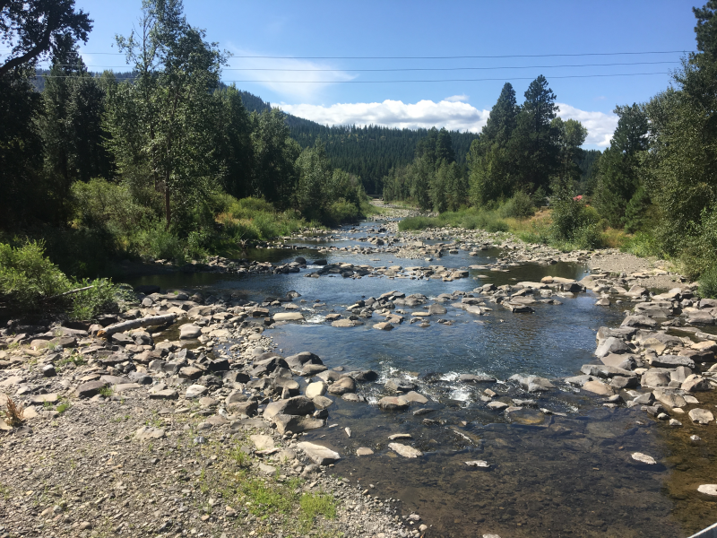 Teanaway River during low flow in August 2019