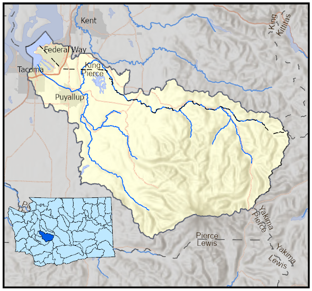 Map that shows the location of the WRIA 10 Puyallup-White watershed in the state.