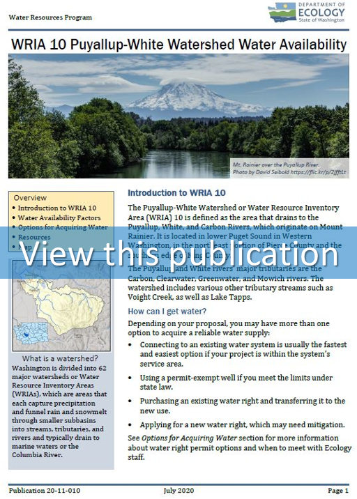 Thumbnail of the first page of the WRIA 10 Water Availability Focus Sheet used as a link to the document