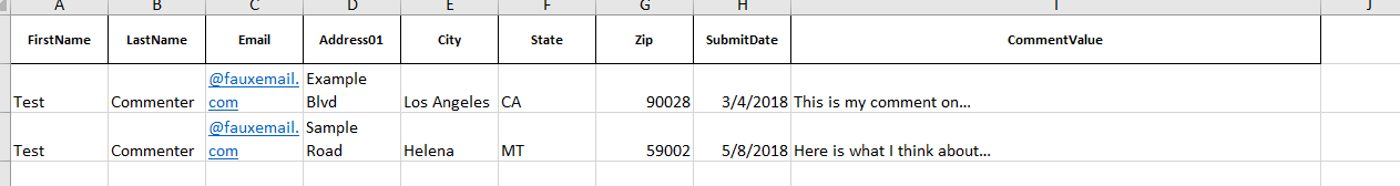 example of comments in an excel spreadsheet with first name, last name, email, address, submit date, and comment