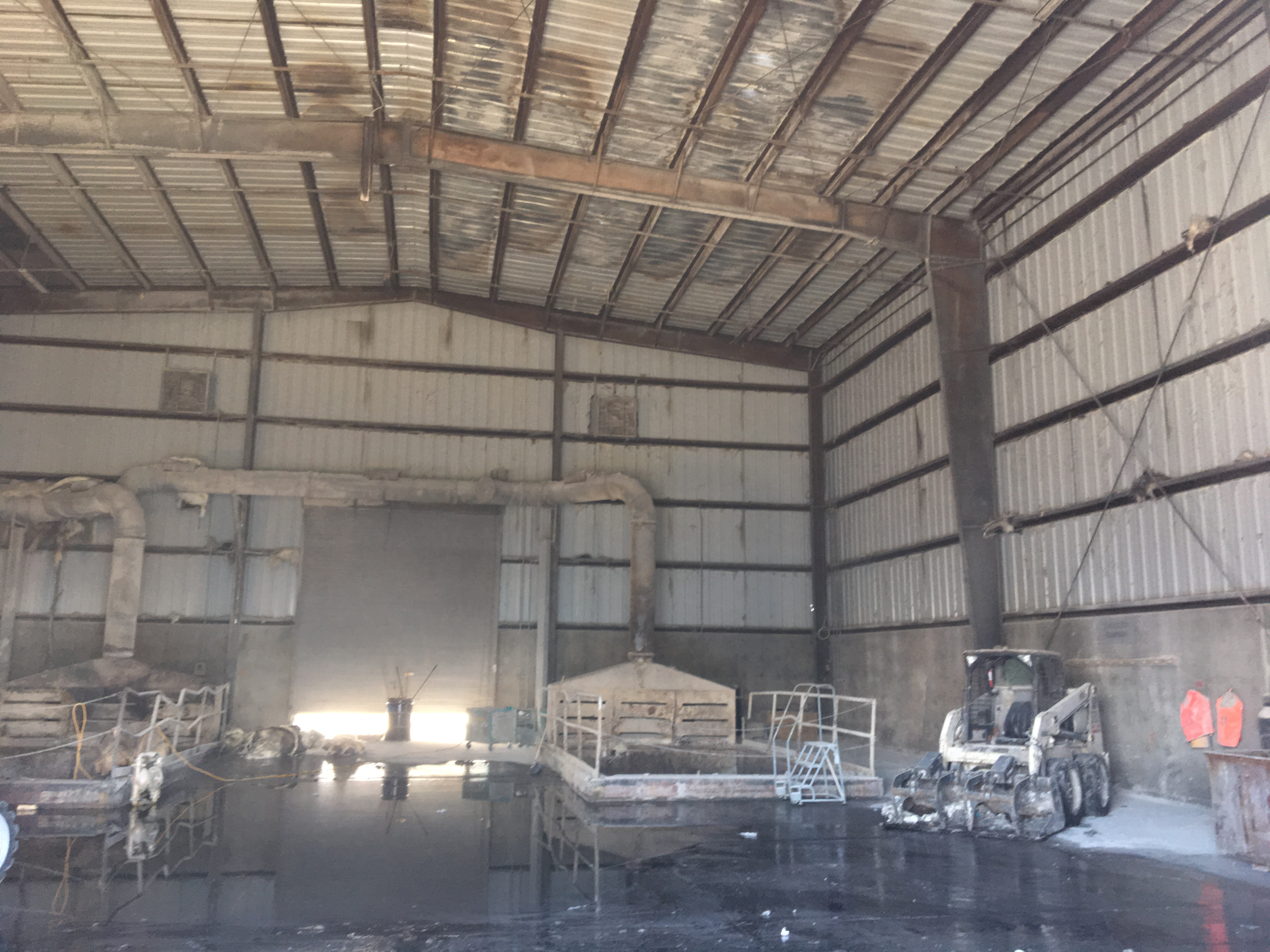 Interior of a Stericycle warehouse after dangerous 2019 fire.