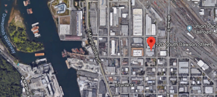 Aerial photo map pinpoints the GE Georgetown site at 220 South Dawson Street, Seattle