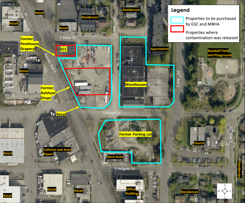 Map and aerial photo showing the location of the proposed Grand Street Commons development and identifying properties with sources of contamination affecting the project.