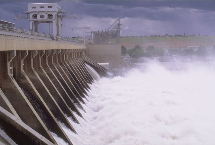 close up of water going through McNary Dam