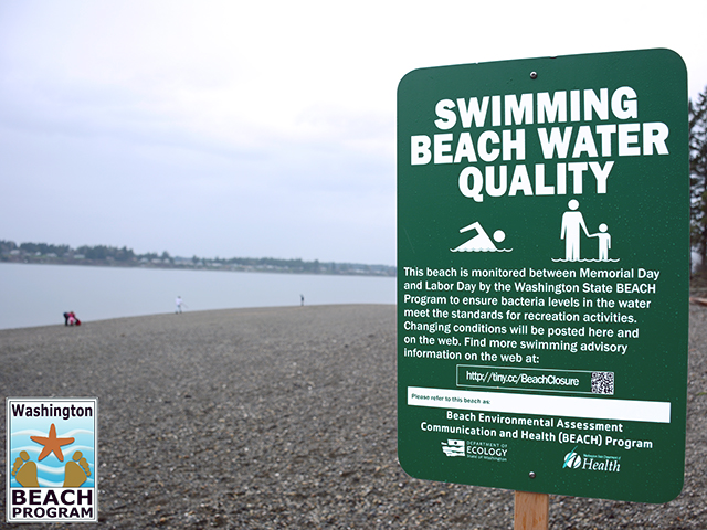 Signage on a monitored beach to protect health