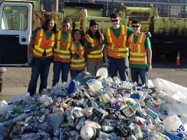 Ecology youth corps helping to sort recycling in King County