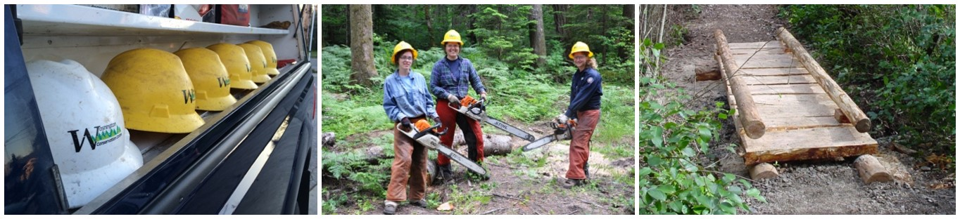 Examples of crew projects in a three image collage. From left to right are crew hard hats line in a row, a team of three WCC members holding chainsaws, and a trail puncheon - a split log bridge over a wetland.