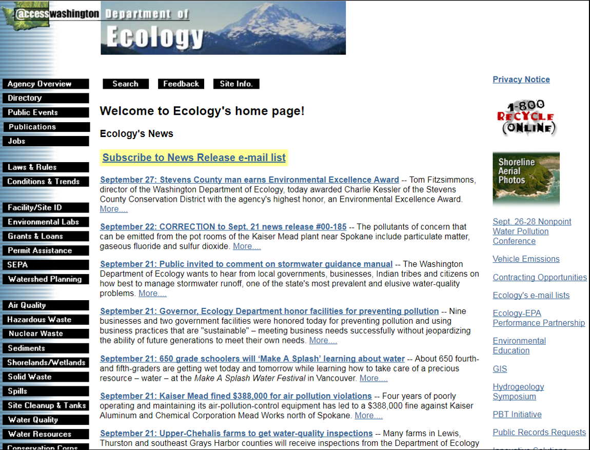 A screenshot of the Department of Ecology webpage in September 2000.