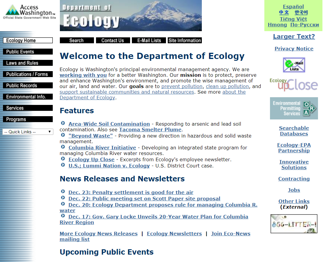 A screenshot of the Department of Ecology homepage in 2003.