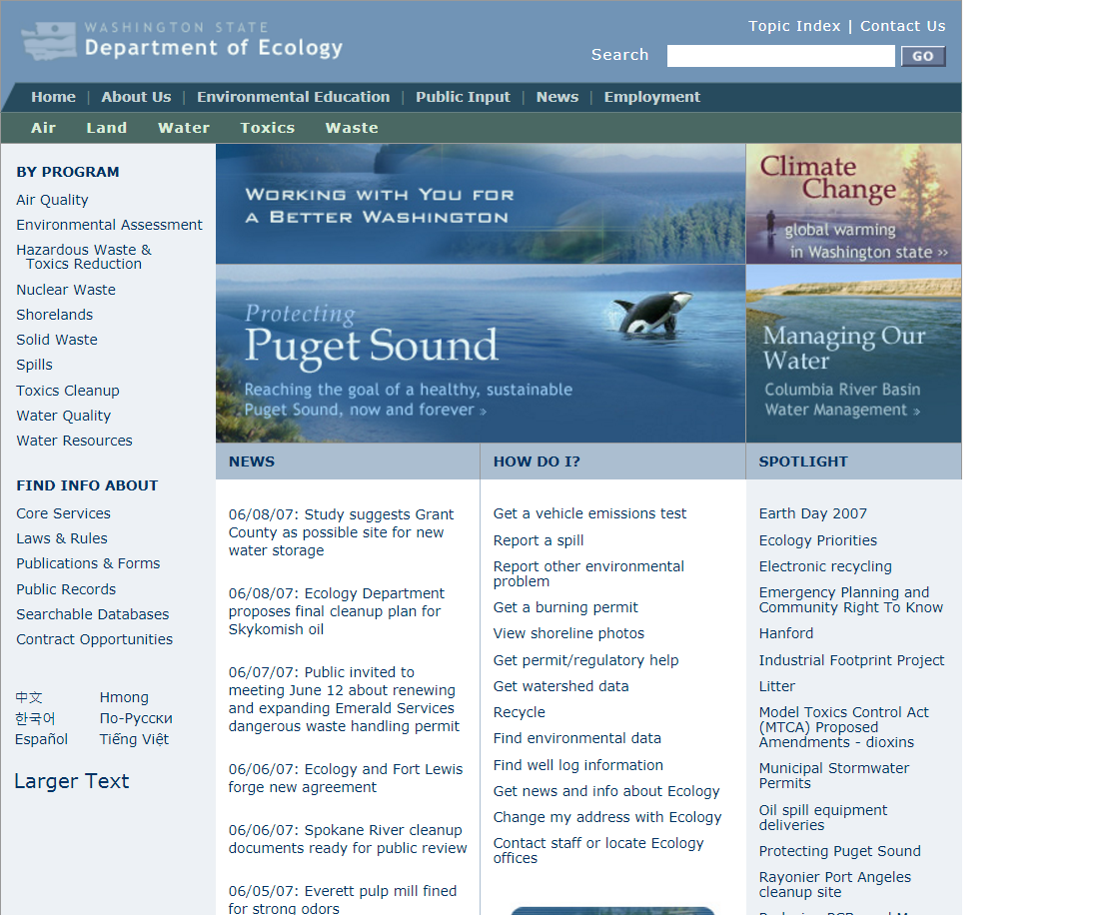 A screenshot of the Department of Ecology homepage in 2006.