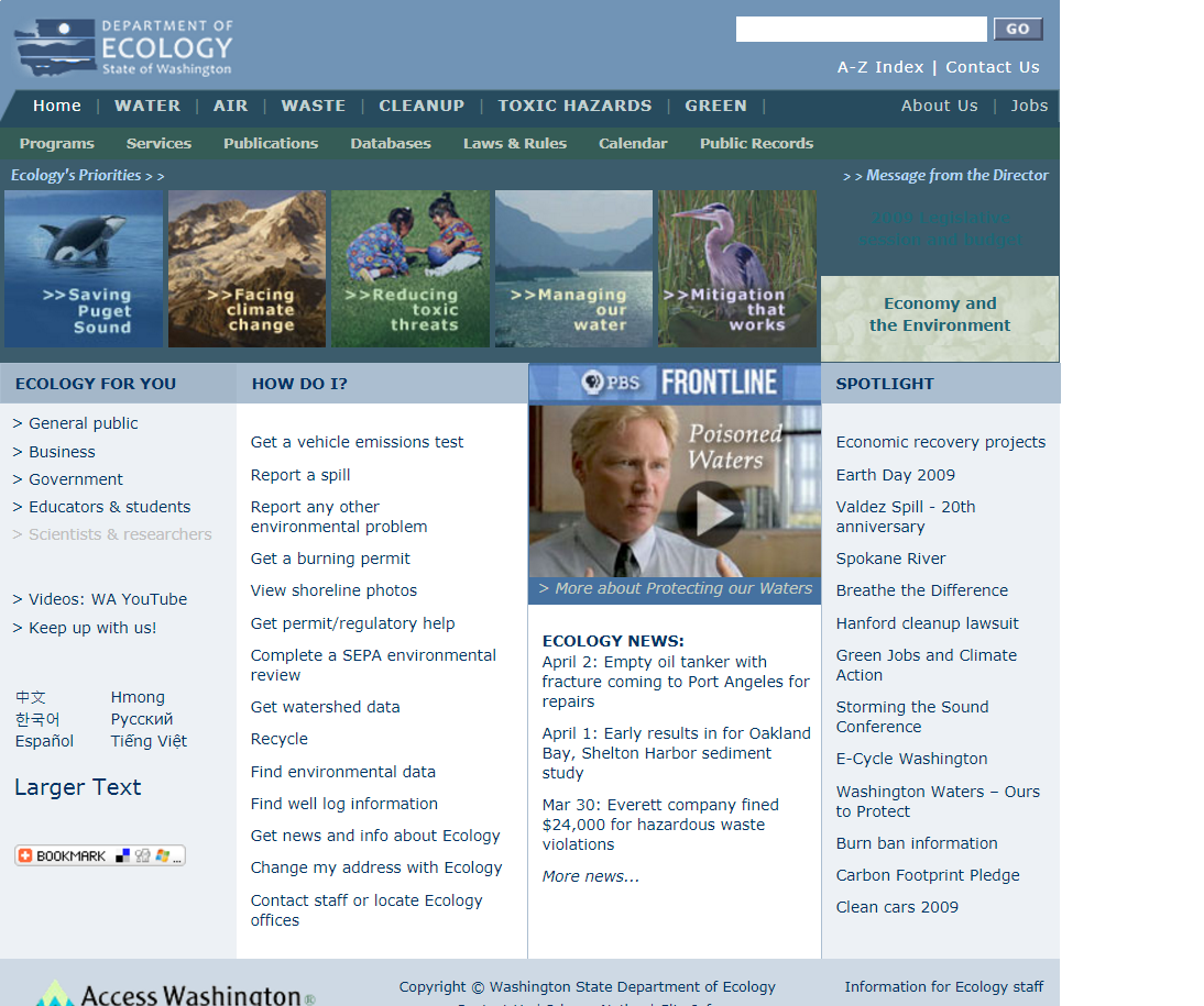 A screenshot of the Department of Ecology homepage in 2009.