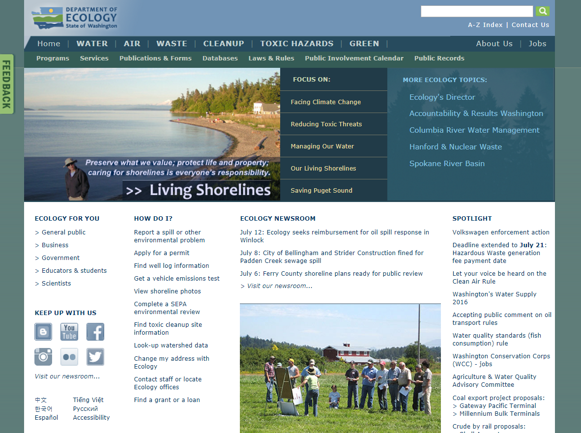 A screenshot of the Department of Ecology homepage in 2015.