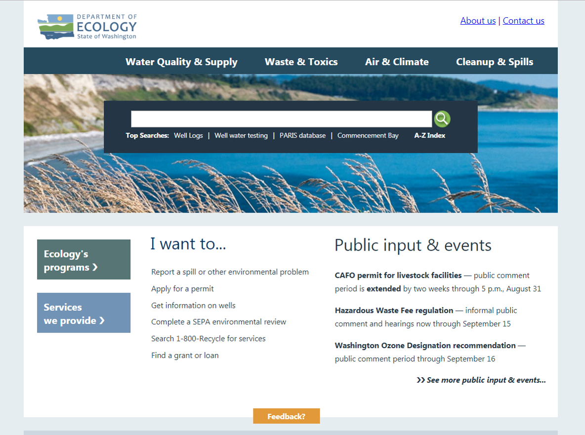 A screenshot of the Department of Ecology homepage in 2016.