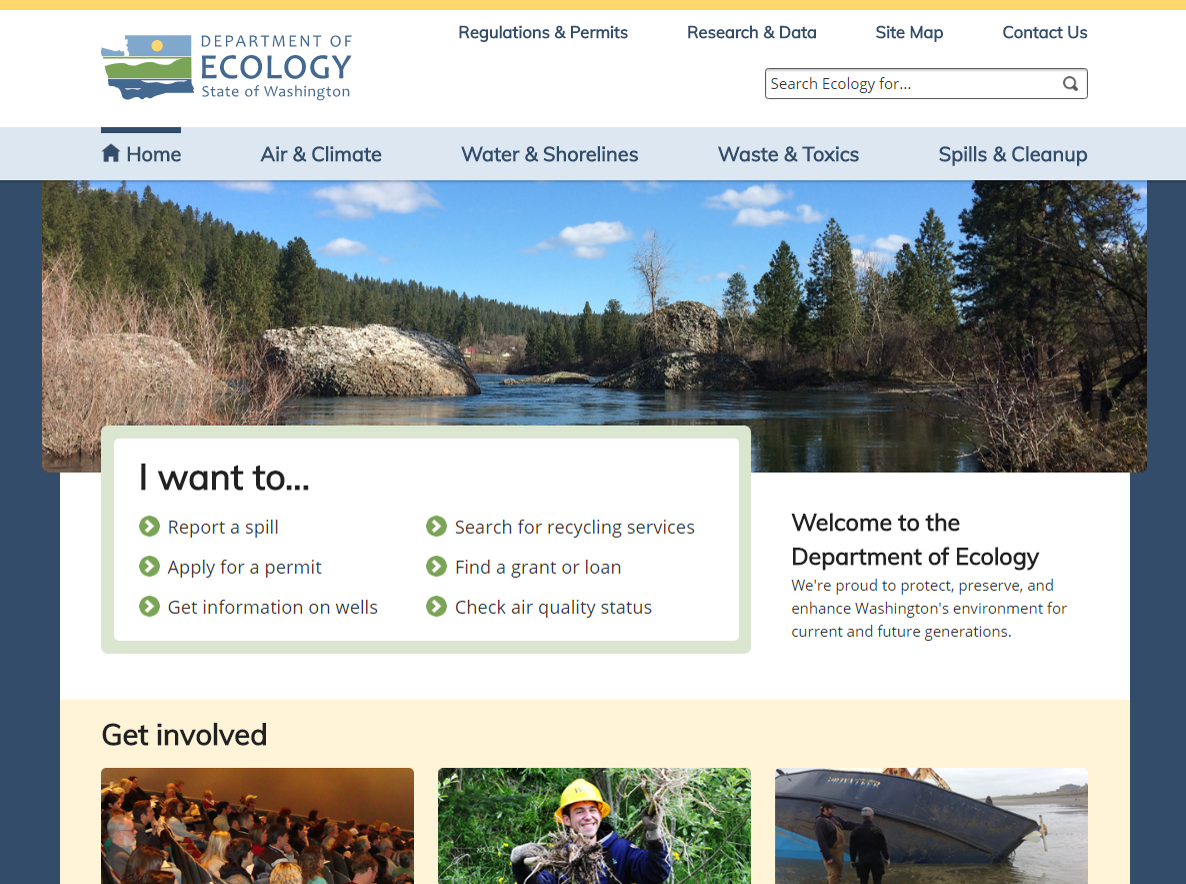 A screenshot of the current Department of Ecology homepage.