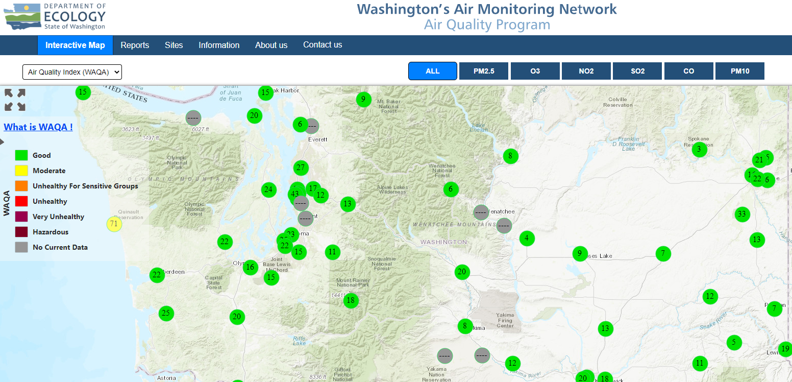 An air quality monitoring map showing air pollution levels in Washington state
