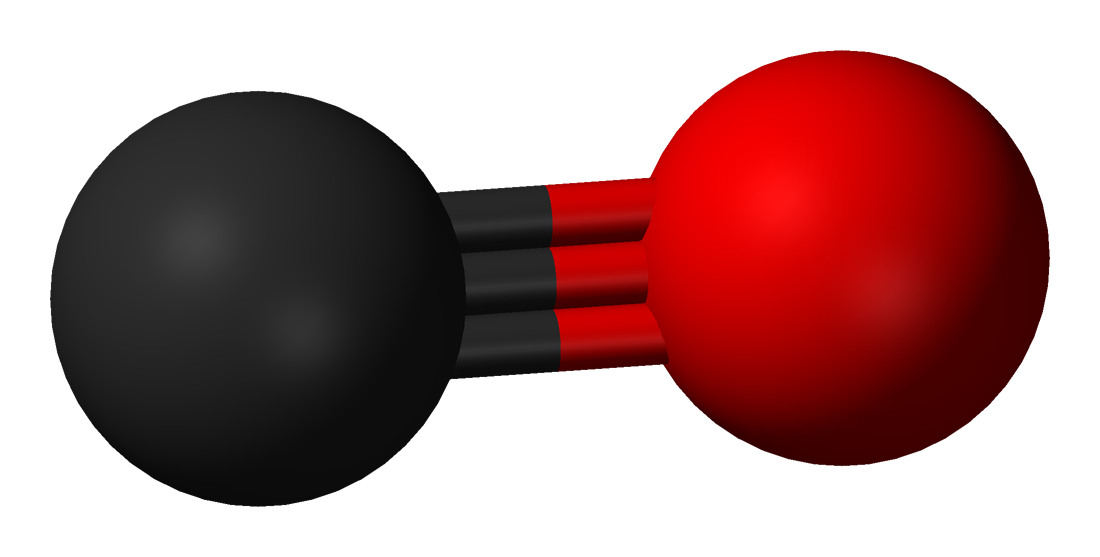 A carbon monoxide molecule model, with a black sphere on one end and a red sphere on the other, with three lines connecting them
