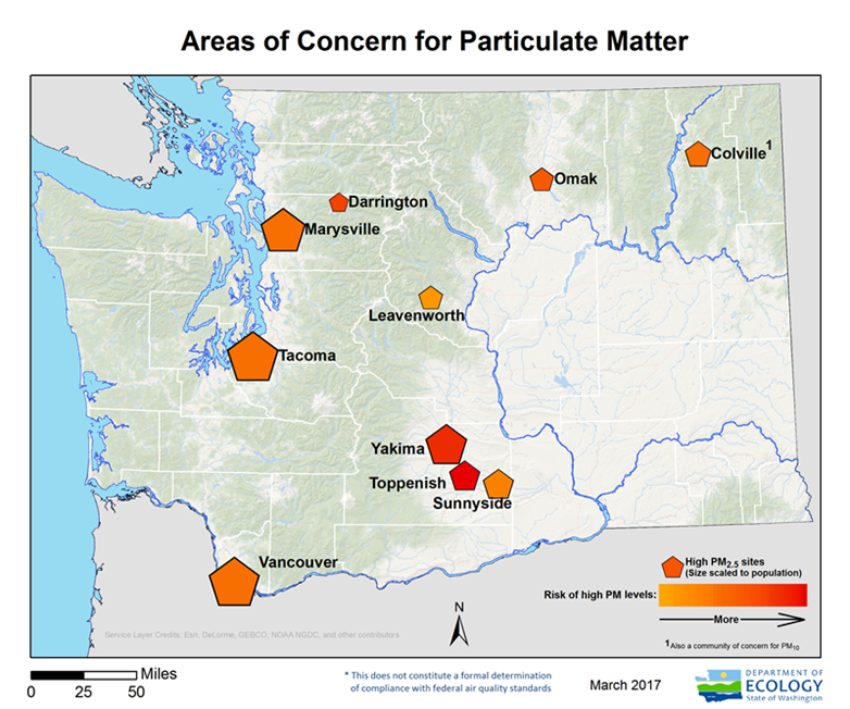 Areas of concern for PM 2.5 map