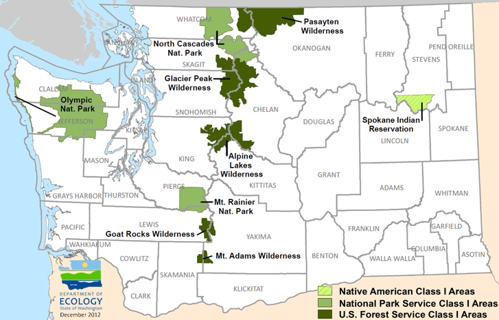 National Parks In Washington State Map.Washington State Department Of Ecology Regional Haze