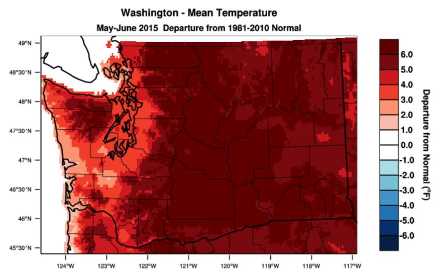 Map of Washington state that shows mean temperatures raising to high levels since 1981.