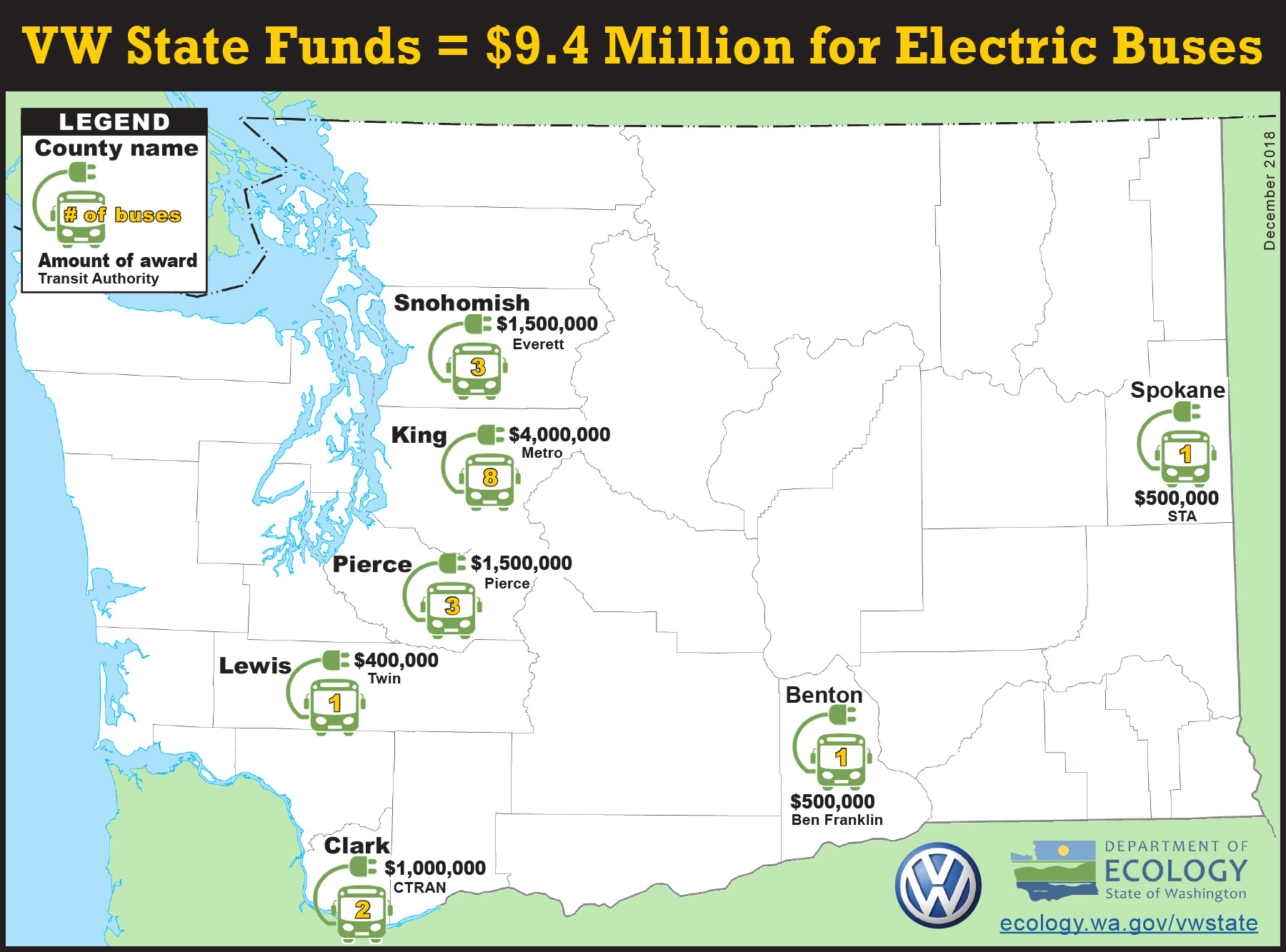 A map showing where electric transit bus grants were awarded.
