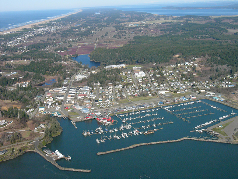 Aerial view of Ilwaco, Washington and the mouth of the Columbia River at the Pacific Ocean