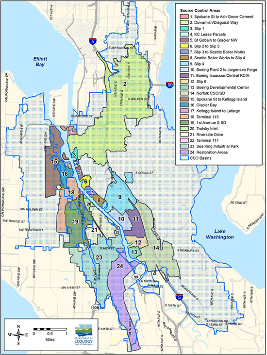This map shows the land area that drains into the Lower Duwamish Waterway, divided into 24 source control areas.