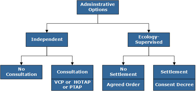 Flow chart showing the two primary administrative options for cleaning up sites: 1. Independent and 2. Ecology-supervised. Independent cleanups branch into two more options: 1) Cleanup with no Ecology consultation, 2) Cleanup with Ecology consultation through VCP, HOTAP or PTAP. Ecology-supervised branch into 1) Cleanup without settlement through Agreed Orders and 2) Cleanup with settlement.