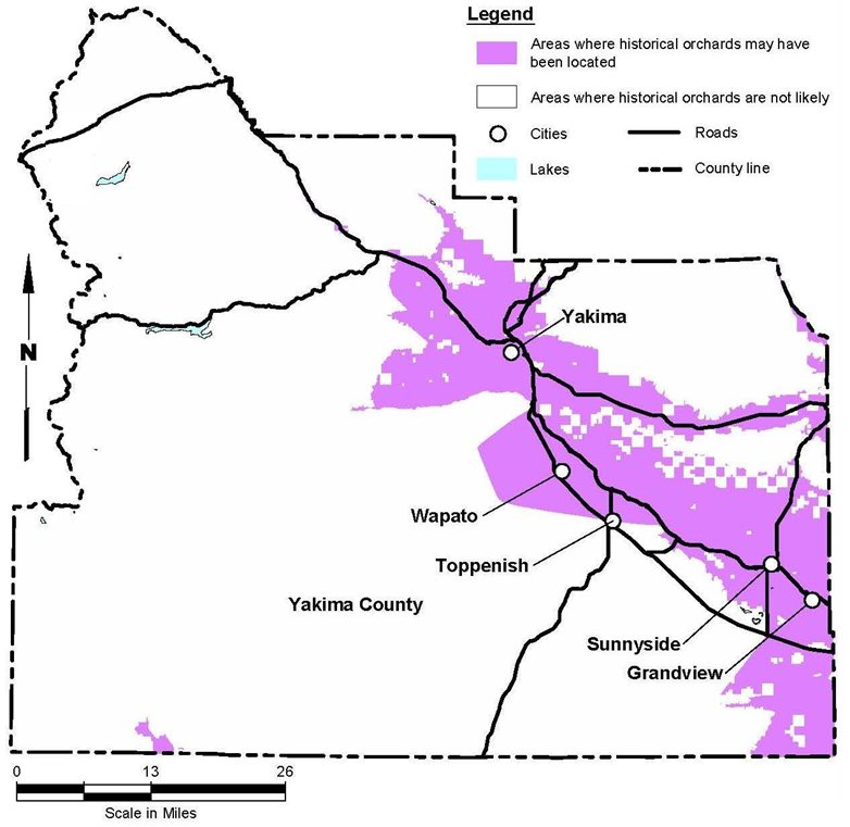 Potentially contaminated areas spread from the joining of the Naches and Tieton rivers along the length of the Yakima river and along the route of highway 24.